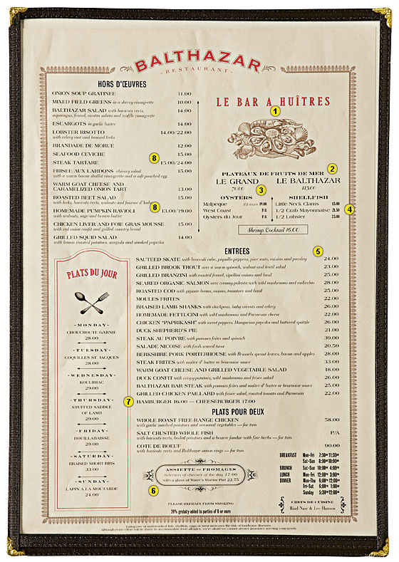 Balthazar Menu Design