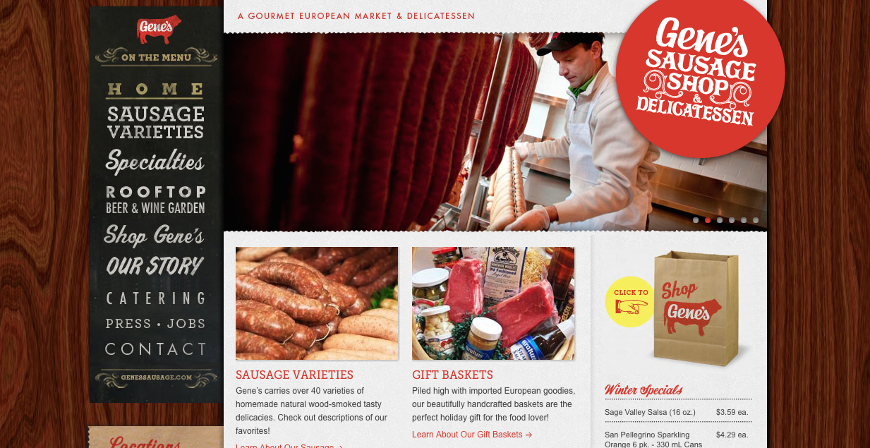 Gene's Sausage Shop Website