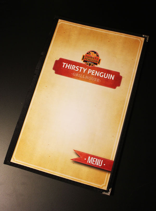 Thirsty Penguin Menu Design