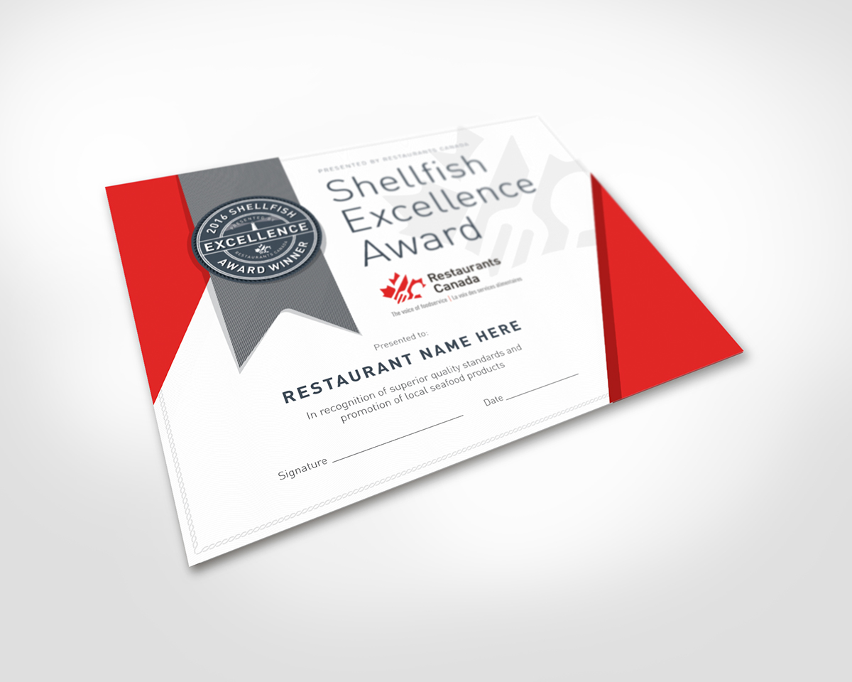 The Restaurants Canada Shellfish Excellence Award